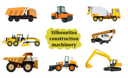 Set of construction equipment. Bulldozer, crane dumper tractor Stock Photo