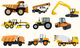 Set of construction equipment. Bulldozer, crane dumper tractor royalty free illustration