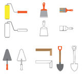 Set of construction equipment and tools, vector image. flat icon Stock Photos