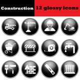 Set of construction glossy icons Stock Photos