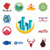 Set of construction, grim reaper, cattle company, stratis, fishing game, resto, social justice, made in france, earth hour icons. Set Of 13 simple editable icons Stock Photography