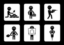 Set construction icons with builders Royalty Free Stock Images