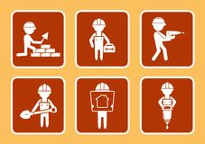 Set construction icons with builders man Royalty Free Stock Photos