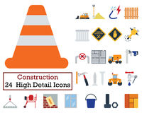Set of 24 Construction Icons. Flat color design. Vector illustration Stock Photo