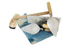 Set of construction lute trowels tool isolated. On white Royalty Free Stock Photo