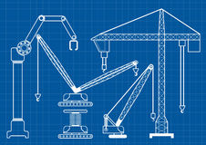 Set of construction machine crane blueprint outline vector illus. Tration royalty free illustration