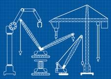 Set of construction machine crane blueprint outline vector illus Stock Photos
