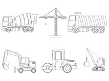 Set of construction machinery. Line art. Children`s coloring. Vector illustration royalty free illustration