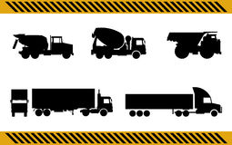 Set of construction machinery trucks Stock Images