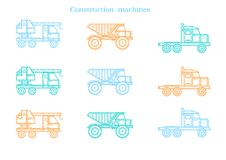 Set of the construction machinery vehicles. Vector Truck, Vector Dumper. Vector , illustration Stock Photos