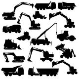 Set of construction machines. Silhouettes of construction machines isolated on white Vector illustration Royalty Free Stock Images