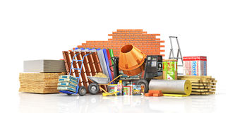Set of construction materials and tools. Isolated on a white background. 3d illustration Stock Images