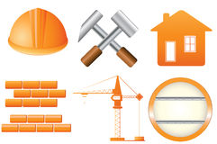 Set of construction object. Set of icons many construction objects Stock Photos
