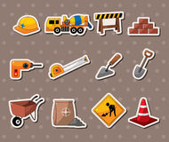 Set of construction object stickers Stock Image