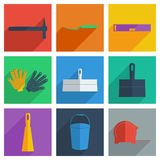 Set of construction with shadow flat concept Royalty Free Stock Photo