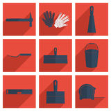 Set of construction with shadow flat concept Stock Images
