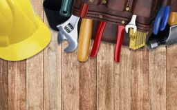 Set of construction tooling in tool belt hard hat Royalty Free Stock Photo