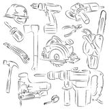 Set of construction tools. Beautiful set of construction tools Royalty Free Stock Photo
