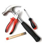 Set of construction tools. On white Stock Image
