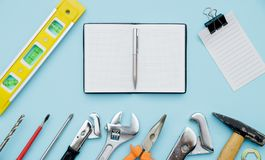 Set of construction tools as wrench, hammer, pliers, socket wren stock photography