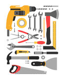 Set of construction tools Royalty Free Stock Photos