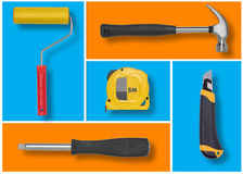 Set of construction tools in blue and orange rectangles like mosaic. Stock Photo
