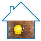 Set of construction tools on the board Royalty Free Stock Images