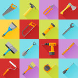 Set of construction tools flat icons with long shadow. 16 construction tools flat icons with long shadow Royalty Free Stock Photo