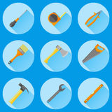 Set of construction tools. Flat icons. Construction tools flat icons with long shadows Stock Image