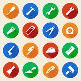 Set of construction tools icons in flat style Stock Images