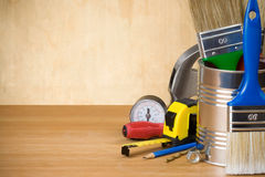 Set of construction tools and instruments Royalty Free Stock Images