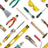 Set of construction tools isolated on a white background. Level,, glasses, wrench, spanner, paint roll, hammer, cutter Royalty Free Stock Photos