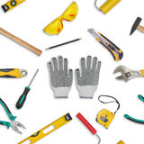 Set of construction tools isolated on a white background. Level,, glasses, wrench, spanner, paint roll, hammer, cutter Royalty Free Stock Images