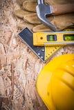 Set of construction tools on OSB maintenance Royalty Free Stock Photos