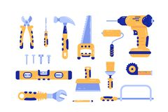 Set of construction tools. Composition consists of various building and repairing equipment and instruments flat style design. Drill hammer, saw, screwdriver stock illustration