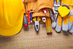 Set of construction tools in toolbelt Royalty Free Stock Photography