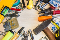 Set of construction tools, the tools lie around, center free, composition power tools Royalty Free Stock Image