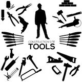Set of construction tools. Construction tools. Set of vector icons. Black silhouettes Royalty Free Stock Photography