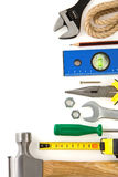 Set of construction tools on white Stock Images