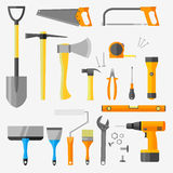 Set of construction tools  on white background. Flat style vector illustration Royalty Free Stock Photo