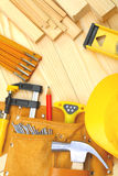 Set of construction tools on wooden boards Royalty Free Stock Image