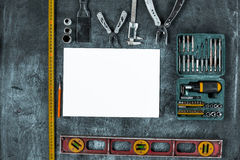 The set of construction tools on wooden table Royalty Free Stock Photos