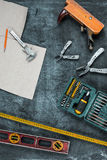 The set of construction tools on wooden table Royalty Free Stock Image