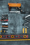 The set of construction tools on wooden table Royalty Free Stock Photo