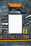 The set of construction tools on wooden table Royalty Free Stock Images