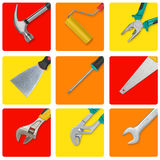 Set of construction tools in yellow, red and orange rectangles like icons. Set construction tools in yellow, red and orange rectangles like icons royalty free stock image