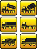 Set of construction transport with button Royalty Free Stock Photography