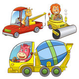 Set of construction vehicle animal cartoon. Stock Image