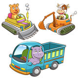 Set of construction vehicle animal cartoon. Stock Photo