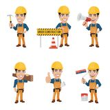 Set of Construction Worker Character in 6 Different Poses. Illustration of construction worker in 6 different poses. High resolution JPG, PNG transparent Stock Photography